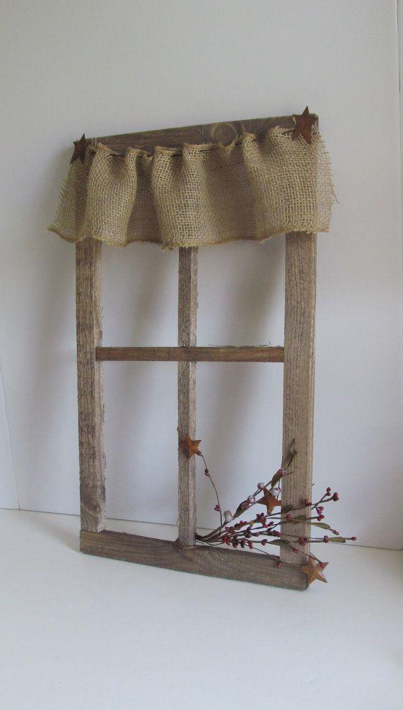 Burlap Curtains Primitive Rustic Barnboard Old Window