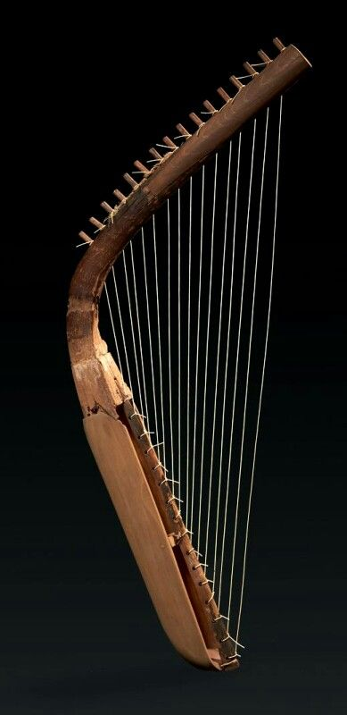 Arched Egyptian Harp, New Kingdom, 16th-11th Century BC During the 4th Dynasty (2613 to 2494 BC) harps became popular in Egypt. Two types were common; the curved or arched-neck like this one and angular models with a perpendicular neck.