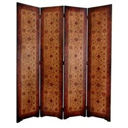 Handmade Faux Leather Olde-Worlde Victorian 6-foot 4-panel Room Divider (China)