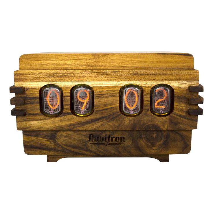The Vintage Nixie Tube Clock - Volta #Nuvitron #gadget #nixie #passion #awaitingtheowner #enjoythelittlethings #slabwood #vintageledtimepiece #vintagetimepiece #nixieclock #vintageclock #clock