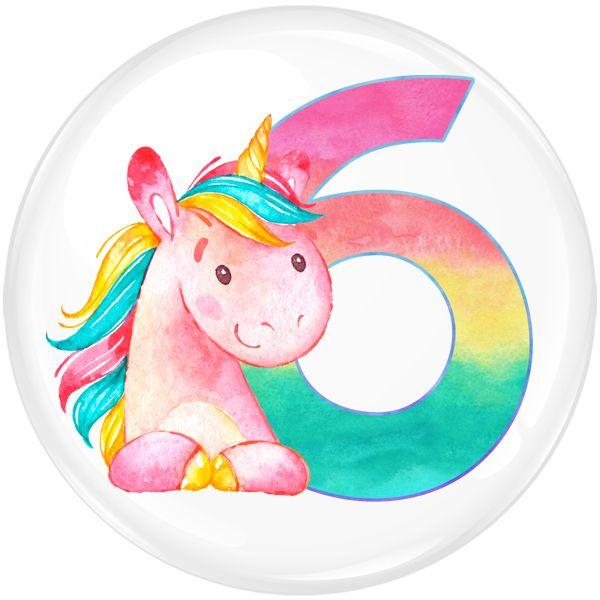 Unicorn 6 Age Birthday Party Badge #453
