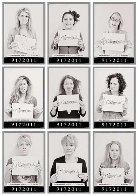 Obviously, you and your bridesmaids will be having a fun night out at your bachelorette party. How cute would it be to make a print of fun morning-after mugshots?