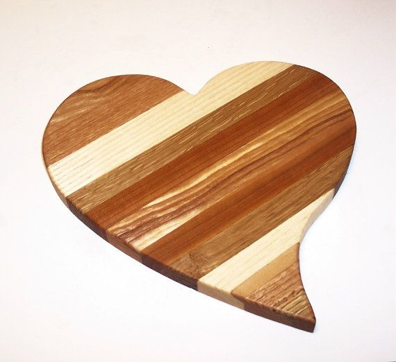 Heart Shaped Cheese Cutting Board Handcrafted From Mixed