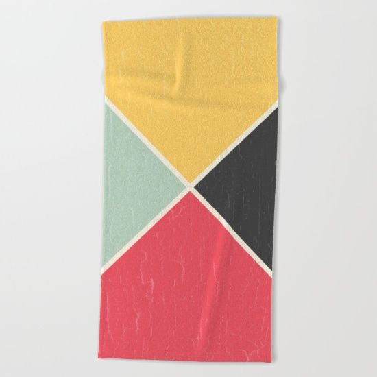 Quarters Beach Towel by Fimbis | Society6 Geometric, shapes, red, yellow, charcoal, black, beige, green, home decor, interiors, fashion, beach, bath towel, hand towel, summer,