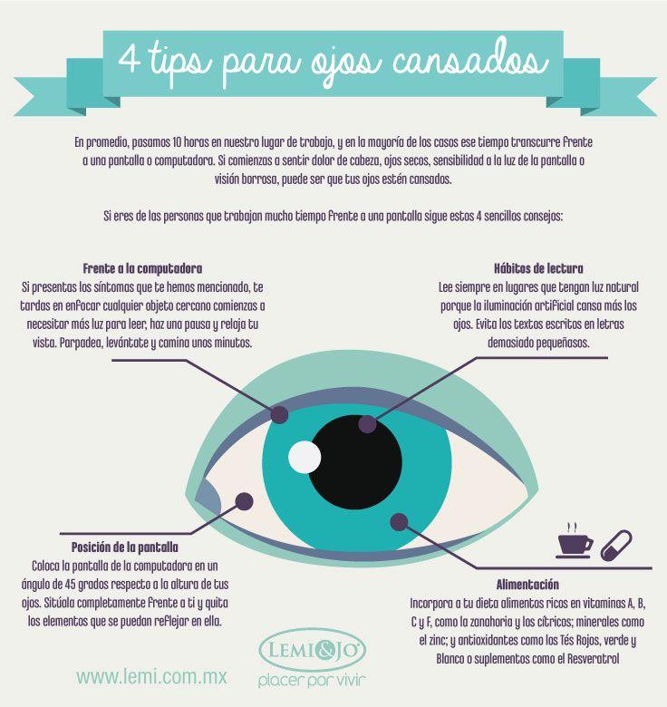 Infografía: 4 #tips para ojos cansados.  #salud y #bienestar