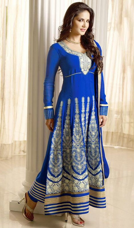 Sunny Leone Blue Faux Georgette Long Churidar Dress Price: Usa Dollar $111, British UK Pound £65, Euro82, Canada CA$121 , Indian Rs5994.