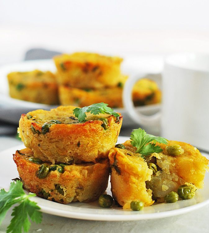 Potato and Peas Samosa Muffins Now you can enjoy the flavor of classic samosa as muffins in a jiffy, they are crispy on the outside and fluffy and flavorful on the inside!