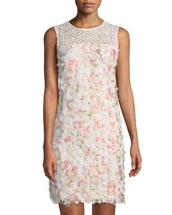 5980eaea688 Floral-Appliqué+Sleeveless+Sheath+Dress+by+Karl+Lagerfeld +Paris+at+Neiman+Marcus+Last+Call.