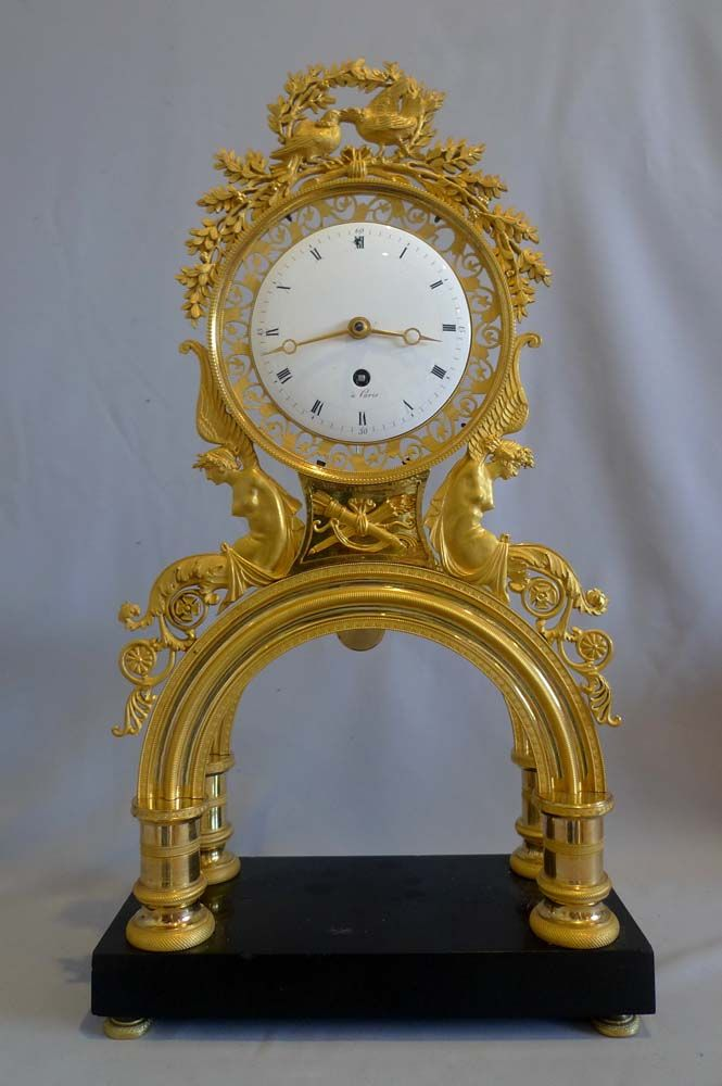 Antique French Revolution/Directoire Period Ormolu And Black Marble Mantel Clock - French   c.1800