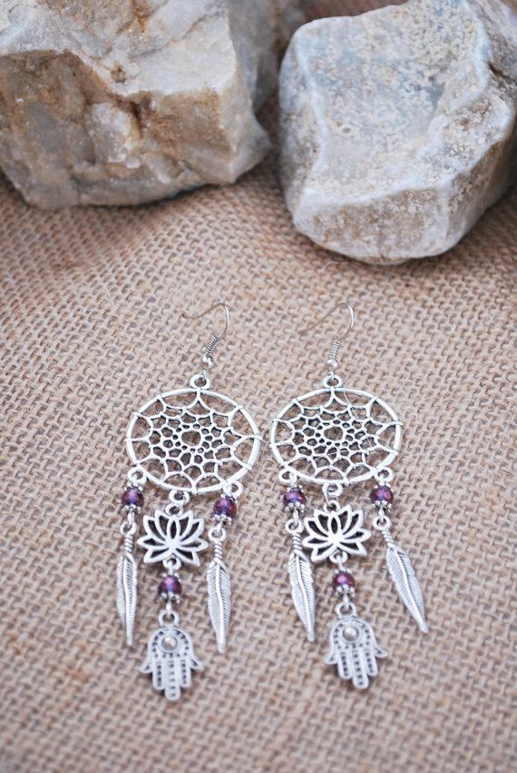 Dream Catcher earrings hamsa hand earrings boho summer by Estibela
