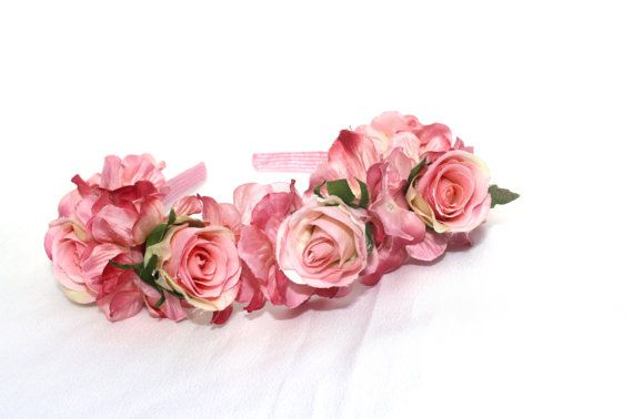 Girl's Pink Floral Head Band with Roses & Hydrangea, Floral Crown, Flower Headpiece