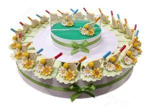 Torta bomboniera 22 fette Racchetta da tennis assortite