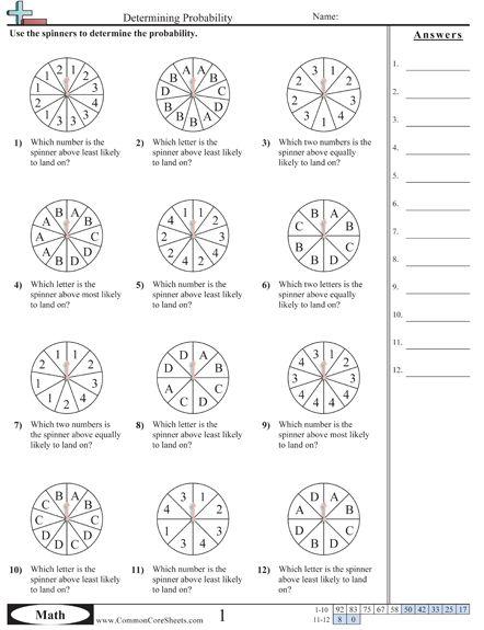 probability worksheets math pinterest worksheets and math. Black Bedroom Furniture Sets. Home Design Ideas