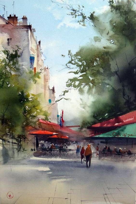 Ilya Ibryaev Plein Air in Reims (France) watercolor 53х35 cm