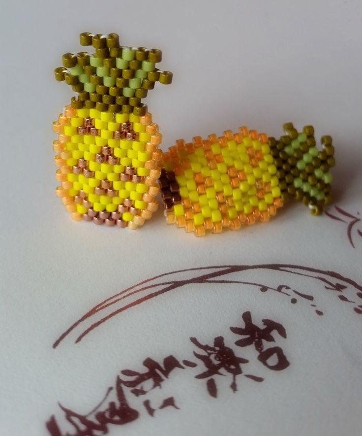 Broches ananas en perles miyuki tissage brick stitch