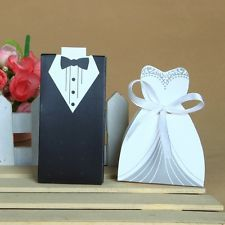 50/100pcs Bride and Groom Dress & Tuxedo Party Wedding Favor Candy Boxes