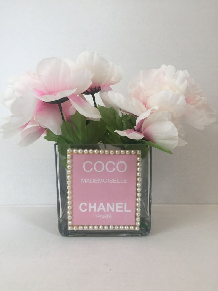 Chanel Inspired Pink Gl Flower Vase Candle Jewelry Makeup Brushes Holder Gold Cc
