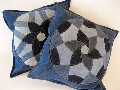 Salvaged denim pillows from Piece and Press (finished pillows for sale on Etsy). #quilting