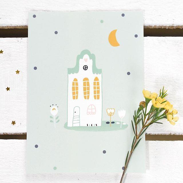 Du mint, des fleurs et une jolie maison 💚🌼 Pour vous souhaiter une douce soirée ! ✨  .  .  .  .  .  Carte #charlotteandtheteapot #illustration #stationery #mint #pastel