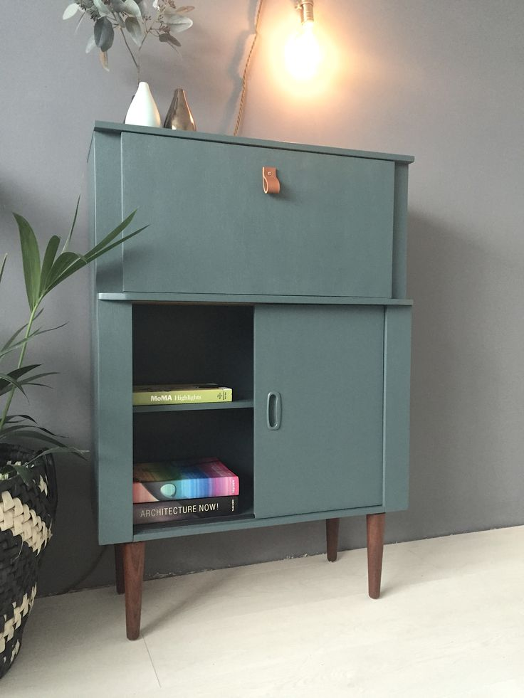 Mid Century Bureau in Farrow and Ball Inchyra Blue