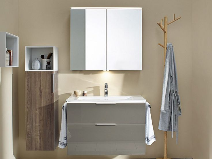 burgbad eqio grey with lighting of vanity unit