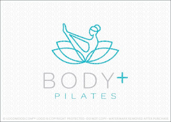 Logo for sale: Pilates and yoga natural wellness lotus logo design, featuring a stylized female figure in a yoga/pilates pose. The female figure is designed to flow seamlessly into a blossoming lotus flower. Simple line create this unique, powerful and modern logo design. Excellent logo for a wide range of natural health and fitness companies.