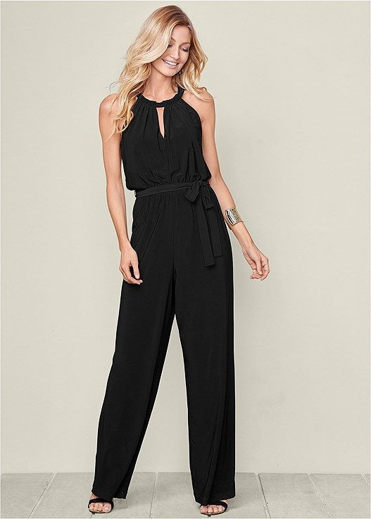 70d4d1076595 Venus Women s Keyhole Neck Jumpsuit Jumpsuits   Rompers - Black ...
