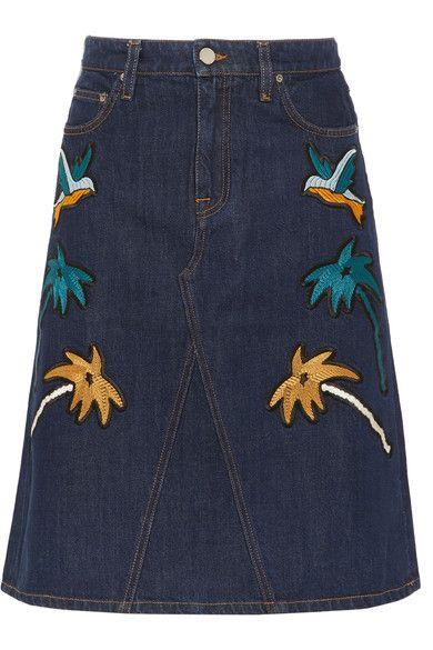 Victoria, Victoria Beckham - Embroidered Denim Skirt - Dark denim - UK10