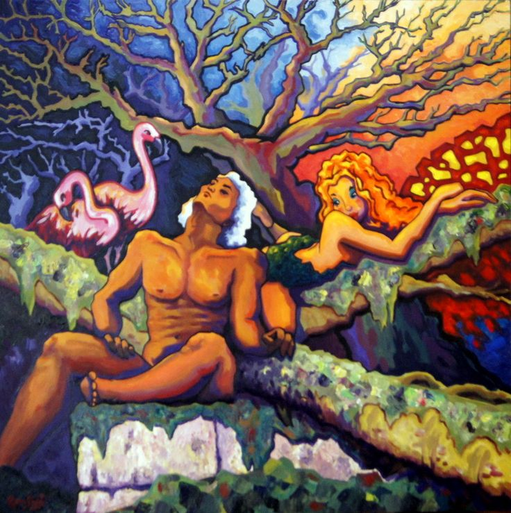 #383 Génesis de la pasión 2 -   Autor: RomSabi, Acrílico y esmaltes,  sobre tabla de madera 80 x 80 cm -