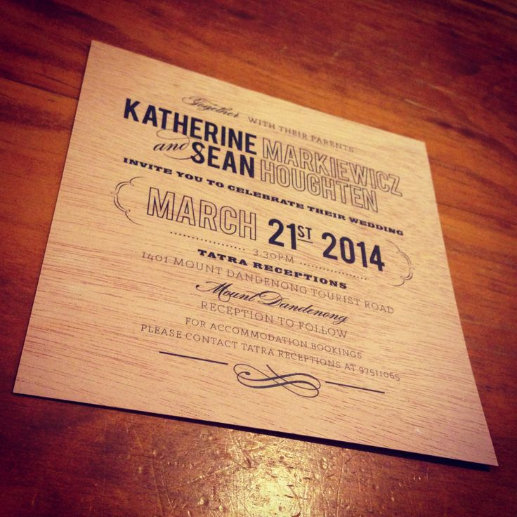 Wedding Invitations printed on Mahogany Wood