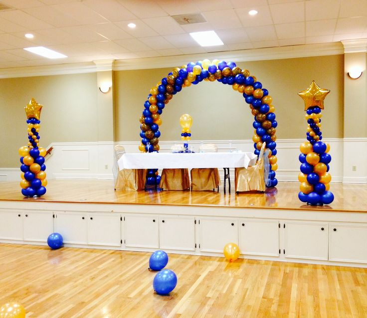 Blue Amp Gold Balloon Arch And Colns Balloon Decor Baby