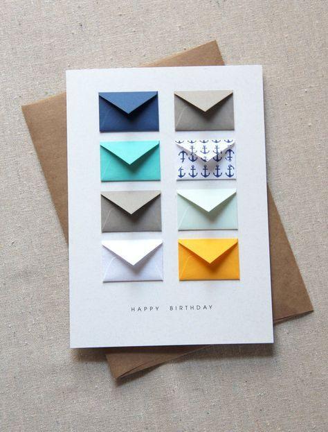 Happy Birthday Nautical – Tiny Envelopes Card with Custom Messages via Etsy