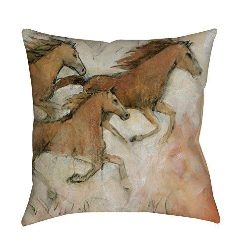 Light Brown White Horse Fresco Animal Throw Pillow 16 Inch Square Shape Casual Wildlife Graphic Pattern Accent Type Spot Clean Eco Friendly Polyester