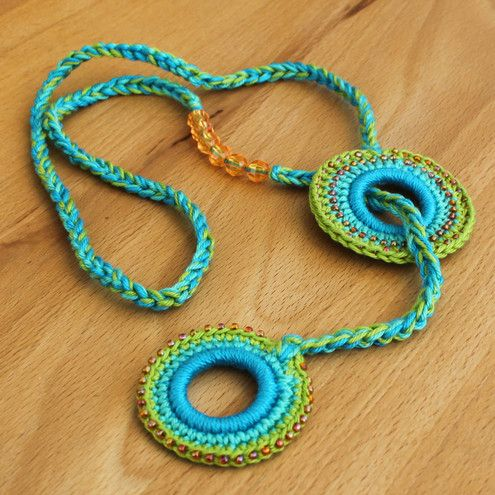Under the Sea Green & Coral Orange Crochet Lariat / Necklace designed by Olivia Meadows-Evans.