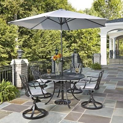 Home Styles Largo 5-Piece Patio Dining Set with Gray Cushions and Umbrella-5560-3256C - The Home Depot