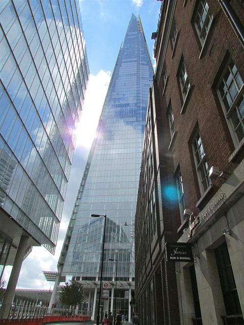 Phenomenal - This astonishing and breathtaking photo of The Shard from this angle shows it's magnificent structure and height. The Shard is definitely a great attraction for tourists around the world who can travel to the top of this 308m heigh building.