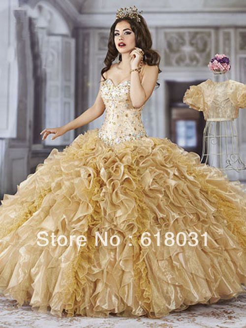 2014 NEW fashionable sweetheart neck beading gold and champagne ruffles quinceanera 15 dress S14-4Q950 US $169.99