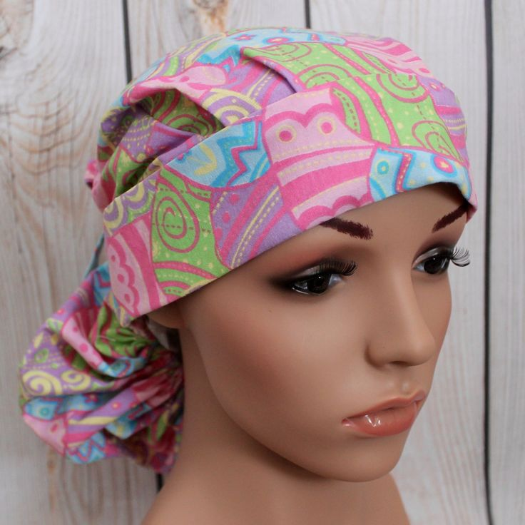 Ponytail Surgical Scrub Hat with Fabric Ties.  Easter Eggs by HatEnvyScrubHats on Etsy