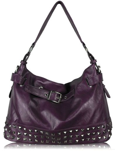 Purple Studded Buckle Shoulder Handbag