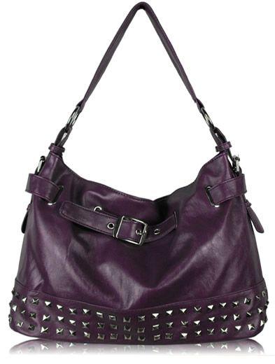 Purple Studded Buckle Shoulder Handbag
