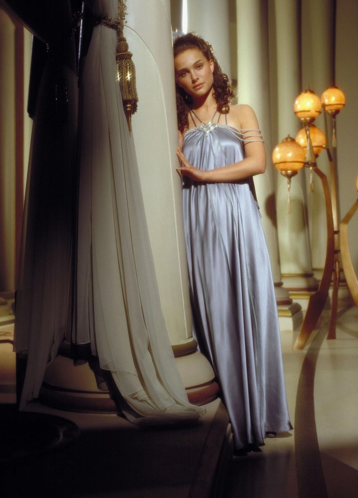 This steel-blue nightgown with pearl detail is worn by Padme Amidala in Star Wars, Episode III: Revenge of the Sith.