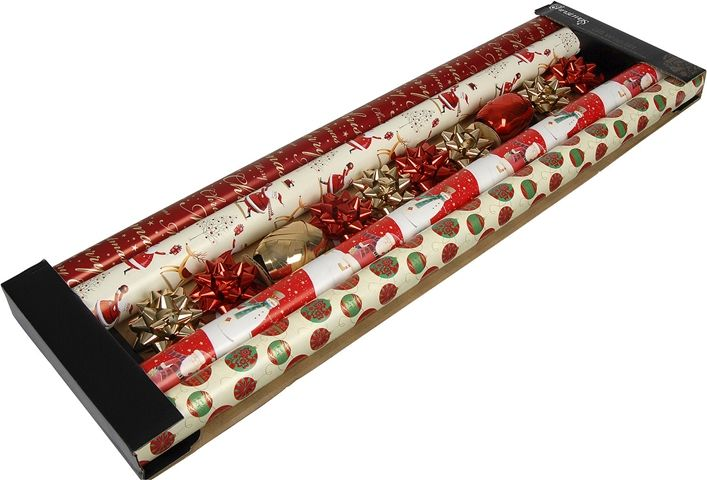 Presentinslagningsset, julpapper, band och rosetter, 3102698, juldekorationer, julpynt, julklappsinslagning, paketinslagning, omslagspapper, presentpapper, julsnören
