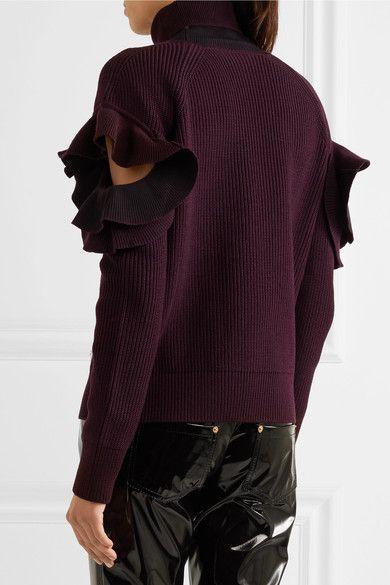 Versace - Cutout Ribbed Wool-blend Turtleneck Sweater - Burgundy