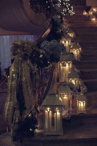 escalier décoré pour noel
