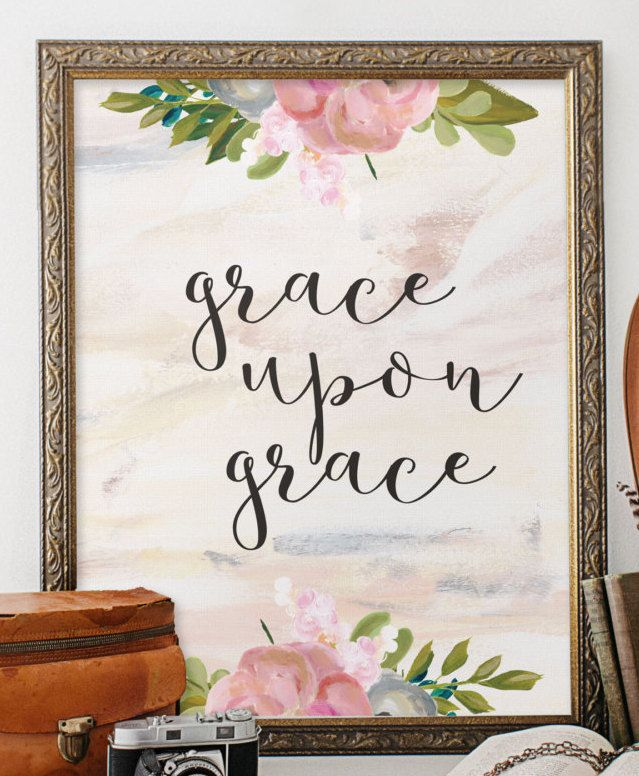 Christian Wall Art Grace Upon Grace By TwoBrushesDesigns On Etsy