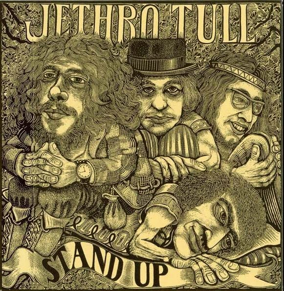 JETHRO TULL - Stand Up (1969) The gatefold album cover, in a woodcut style…
