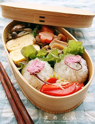 Salted Sakura Petals on Onigiri Rice Ball, Spring Bento Lunch by まめ
