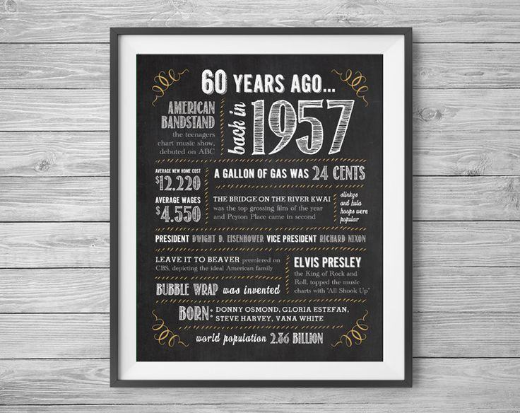 60th Birthday or Anniversary Sign, Printable 8x10 and 16x20 Party Supplies, 60 Years Ago in 1957, Instant Digital Download, Print at Home by NviteCP on Etsy, 60th Birthday, 60th Anniversary, 1957 sign, 60th