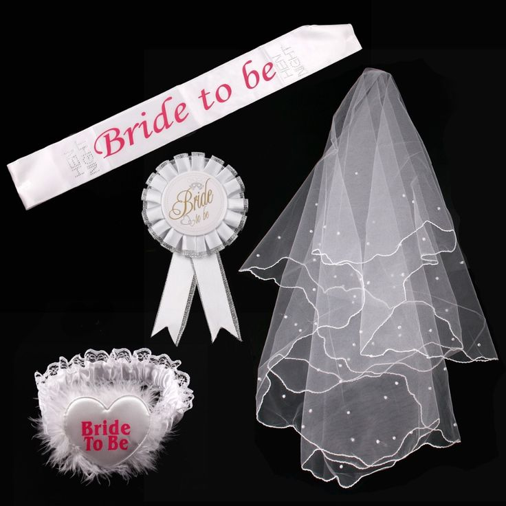 FENGRISE Hen Party Decoration Bride To Be Sash Badge Sexy Garter White Veil Bridal Shower Bachelorette