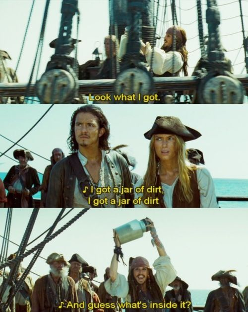 Johnny Depp added that part in. Will and Elizabeth's faces...Oh man